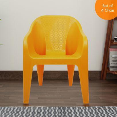 Italica Set of 4 Modern Plastic Sofa Arm Stylish Chair (Orange)