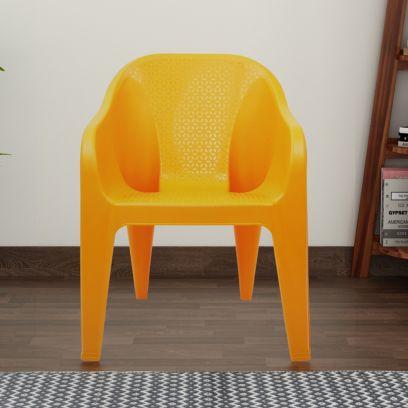Italica Modern Plastic Sofa Arm Stylish Chair (Orange)