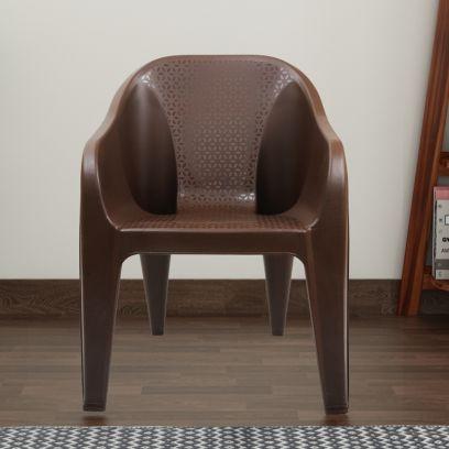 Italica Modern Plastic Sofa Arm Stylish Chair (Tan Brown)