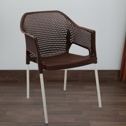 Italica Plastic Chair With Arm Rest and Stainless Steel Legs (Tan Brown)