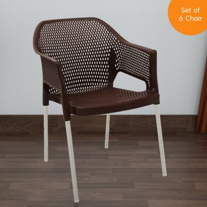 Italica Set of 6 Plastic Chair With Arm Rest and Stainless Steel Legs (Tan Brown)