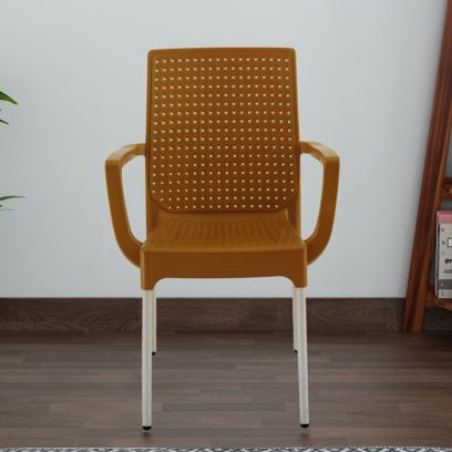 Italica Plastic Plasteel Arm Chair with Stainless Steel Legs (Camel)