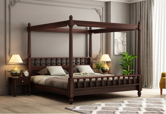 Allure Poster Bed Without Storage (Queen Size, Walnut Finish)