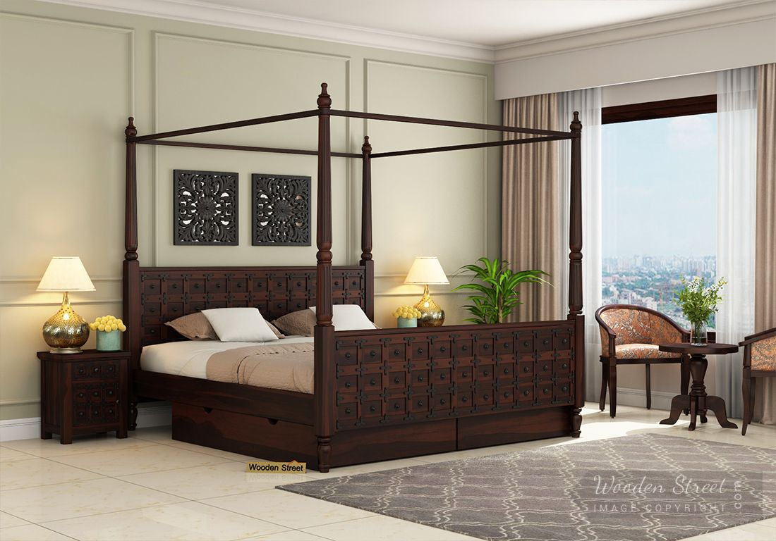 Picture of: Buy Citadel Poster Bed With Storage Queen Size Walnut Finish Online In India Wooden Street