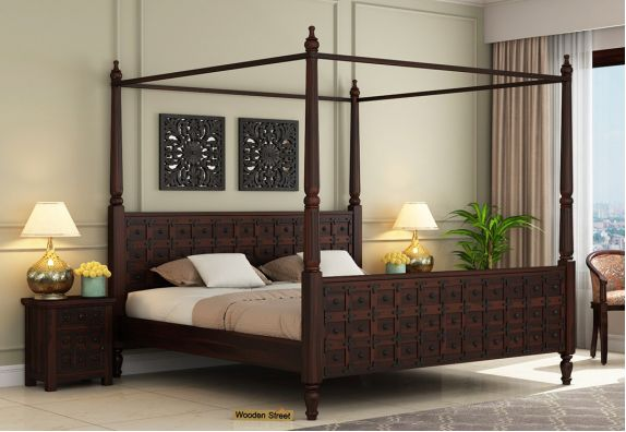 wooden four poster bed for royal bedroom interior