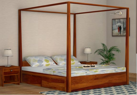 wooden poster bed with storage