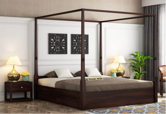 Wisker Poster Bed With Storage (King Size, Walnut Finish)