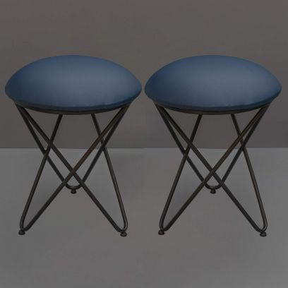 Blue Leatherette Casino Cross Leg Ottoman - Set of 2