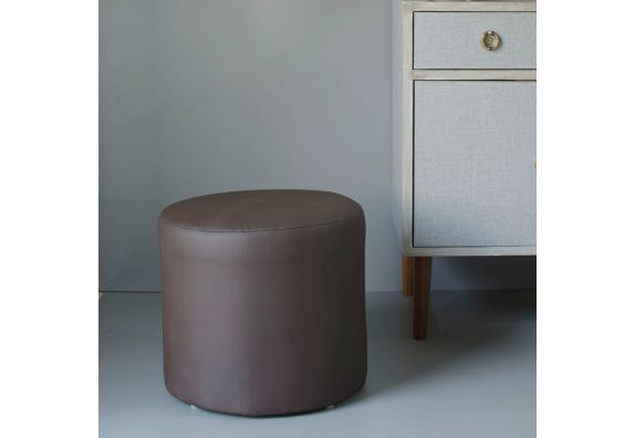 Brown Leatherette Round Pouffe