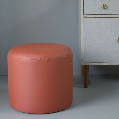 Brown Round Leatherette Pouffe