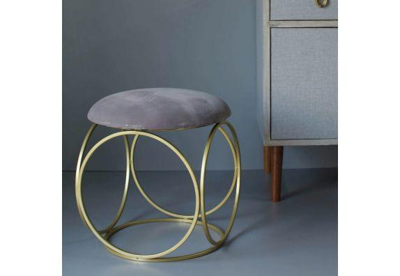 Grey Velvet Round Leg Ottoman - Set of 2