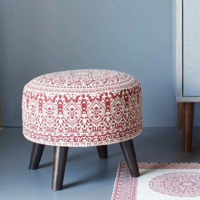 Red Printed Cotton Canvas Ottoman