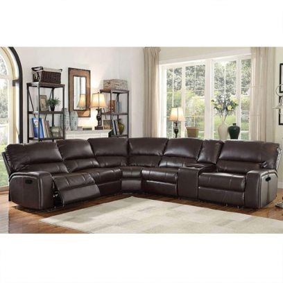 Brazil Leatherette 6 Seater Recliner Sofa Set (Brown)