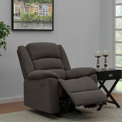 Carsley Fabric 1 Seater Recliner Sofa (Dark Grey)
