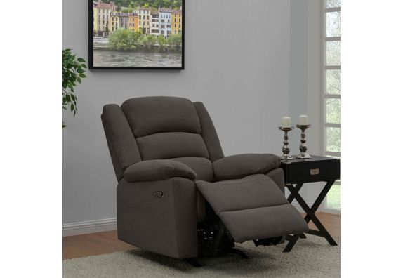 Carsley Fabric 1 Seater Recliner Sofa (Dark Grey)