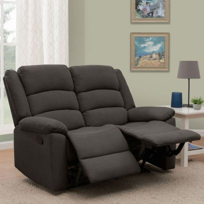 Carsley Fabric 2 Seater Recliner Sofa (Dark Grey)
