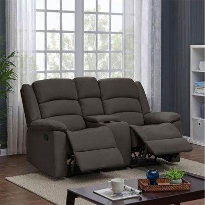 Carsley Fabric 2 Seater Recliner Sofa with Storage (Dark Grey)