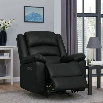 Carsley Leatherette 1 Seater Recliner Sofa (Black)