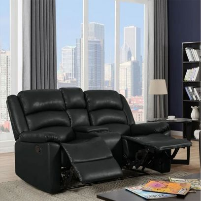 Carsley Leatherette 2 Seater Recliner Sofa with Storage (Black)