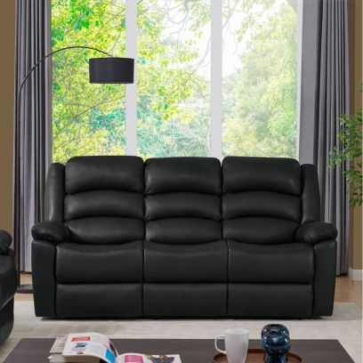 Carsley Leatherette 3 Seater Recliner Sofa (Black)