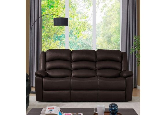 Carsley Leatherette 3 Seater Recliner Sofa (Brown)