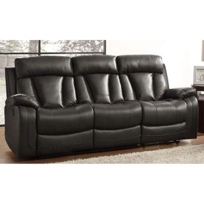 Casanoy Leatherette 3 Seater Recliner Sofa (Black)