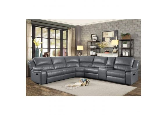 Cherris Leatherette 6 Seater Recliner Sofa Set (Grey)