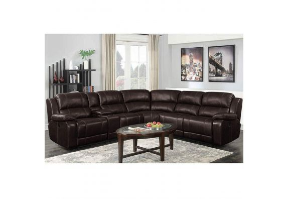 Chesteron Leatherette 6 Seater Recliner Sofa Set (Brown)