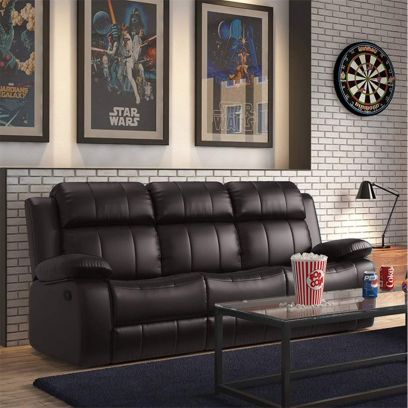Chris Leatherette 3 Seater Recliner Sofa (Brown)