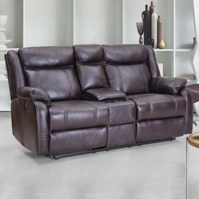 Danobe Leatherette 2 Seater Recliner Sofa with Storage (Brown)