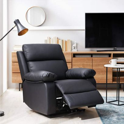 Denvero Leatherette 1 Seater Recliner Sofa (Black)