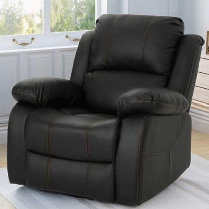 Dinvas Leatherette 1 Seater Recliner Sofa (Black)