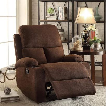 Elizza Fabric 1 Seater Recliner Sofa (Brown)