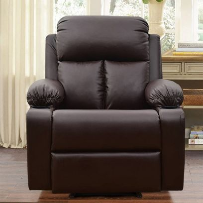 Elizza Leatherette 1 Seater Recliner Sofa (Brown)