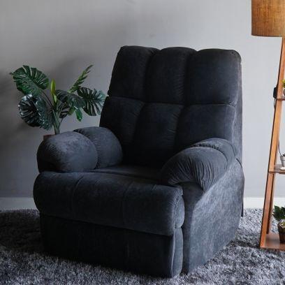 Ricardo Manual Velvet Recliner Sofa (Heavy Metal Grey)