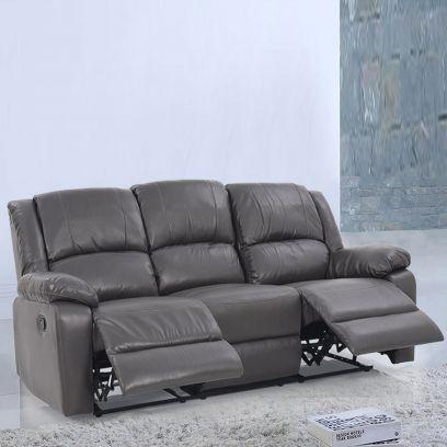 Starsan Leatherette 3 Seater Recliner Sofa (Grey)