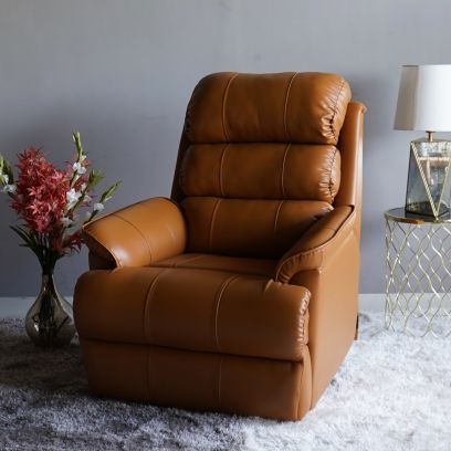 Valencia Leatherette Motorized Recliner Sofa (Potters Clay Brown)