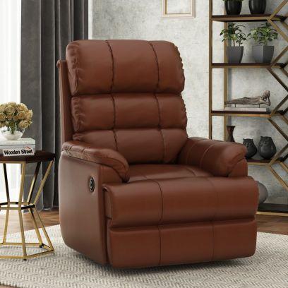 Valencia Leatherette Motorized Recliner Sofa (Saddle Brown)