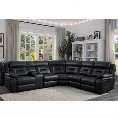 Venice Leatherette 6 Seater Recliner Sofa (Black)