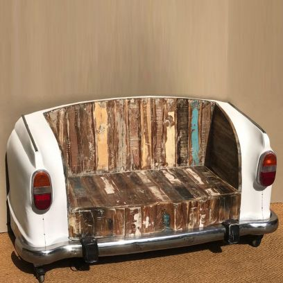 Ambassador Car Booth Seating with Rustic Style Antique Headlamps