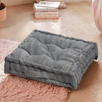 Textured Grey Premium square Floor Cushions (20 x 20 inch)