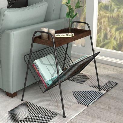 Ebony Side End Table with Shelf (Walnut Finish)