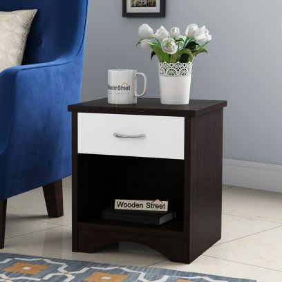 Alberto Side End Table (Flowery Wenge-Frosty White Finish)