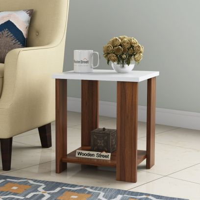 Facile Square Side End Table (Exotic Teak-Frosty White Finish)