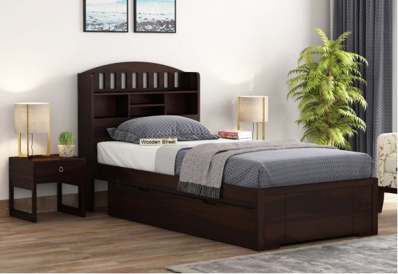 wooden single bed with storage drawer and headboard shelf