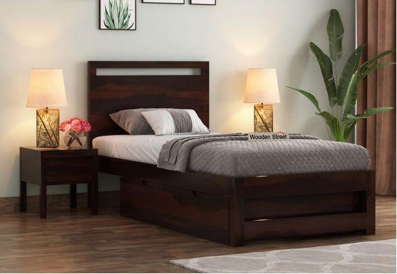 Bacon Single Bed With Storage (Walnut Finish)