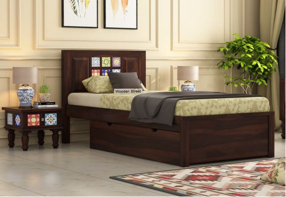 Boho Single Bed With Storage