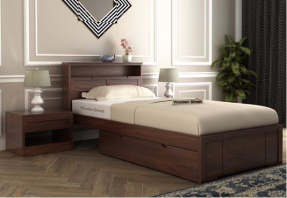 Ferguson Single Bed With Storage (Mahogany Finish)