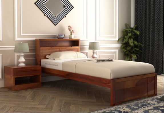Ferguson Single Bed Without Storage (Mahogany Finish)