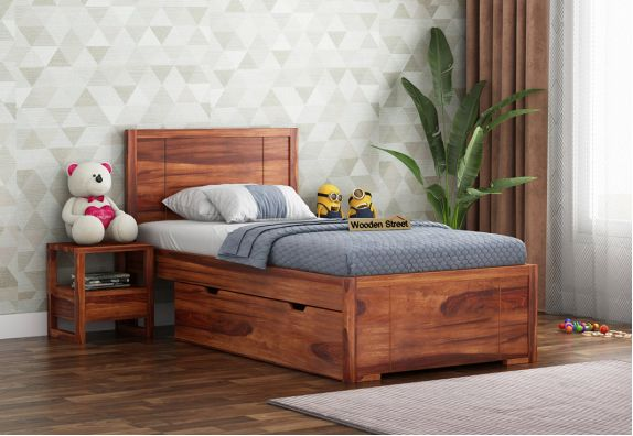 wooden single bed with storage box underneath